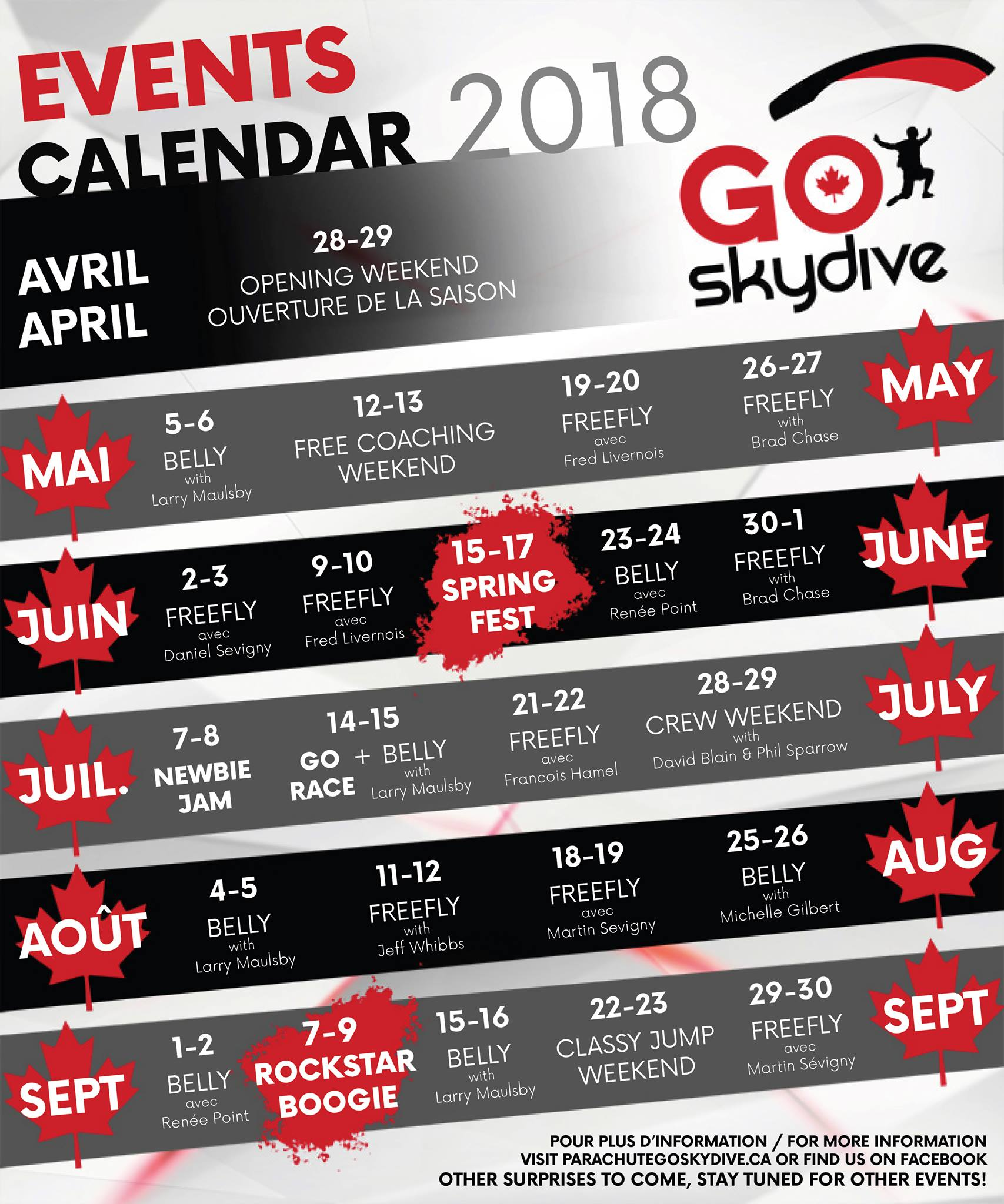 GO Skydive - Calendrier 2018